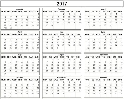 Printable Calendar 2017 Monday Start Yearly 2017 Printable Calendar Back And White Week Starts