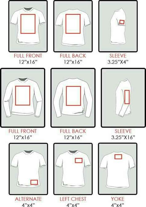 t shirt layout size chart re sizing of decals for shirts silhouette