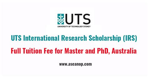 Uts Mba Fees by Uts International Research Scholarship For Master And Phd