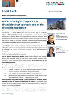 Financial Ombudsman Newsletter act on handling of complaints by financial market