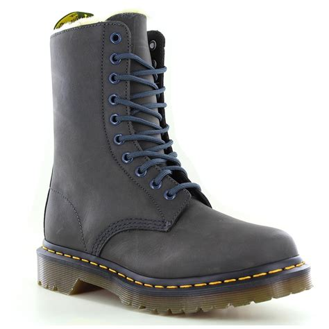 boots graphite dr martens 1490 fl womens warm leather boots graphite grey