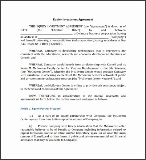 8 Editable Investment Contract Template Sletemplatess Sletemplatess Artist Investor Agreement Template