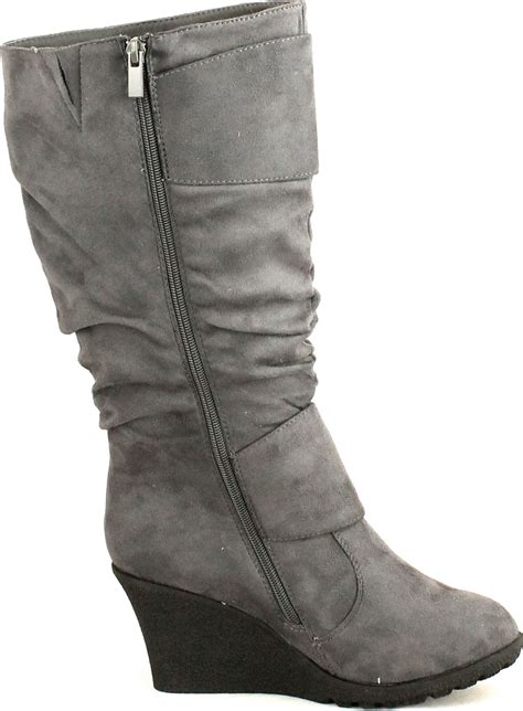 top moda womens 2 buckle slouch wedge boots ebay