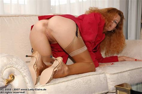 German Mature Redhead Lady Claire Strips Her Stockings Pichunter