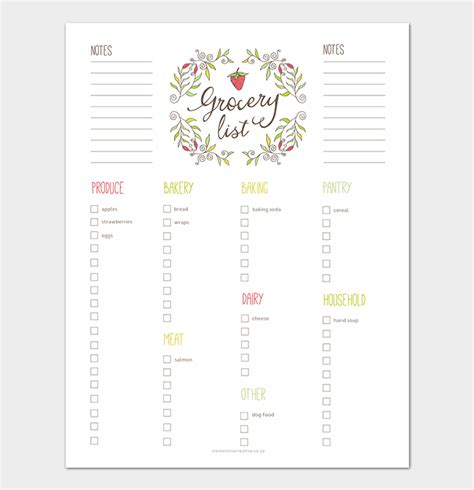 Grocery List Template 16 Shopping Lists Excel Word Pdf Shopping List Template