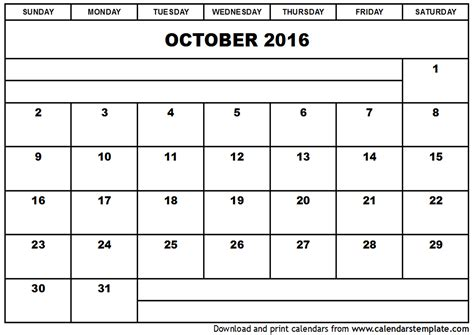 2016 printable calendar template october 2016 calendar template