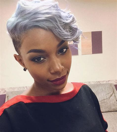 grey natural short cut for african american women love this lavender mohawk chelline s http community