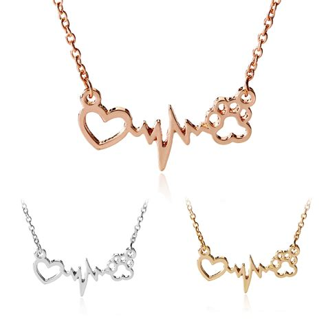 Cat Paw Necklace cat paw print heartbeat electrocardiogram