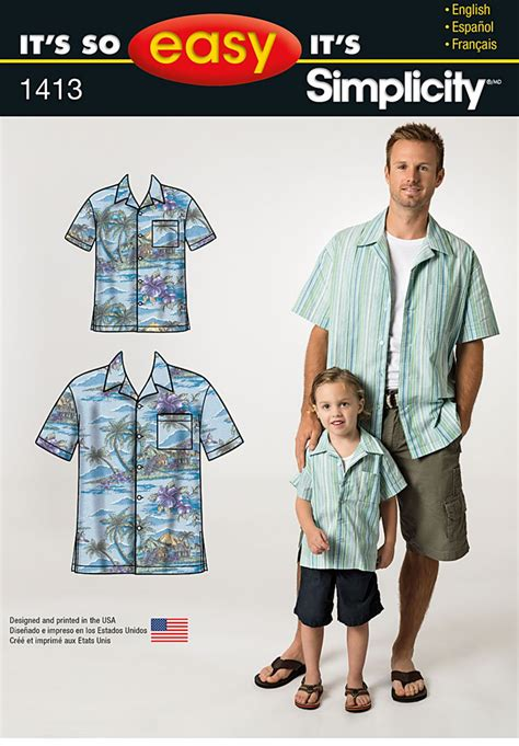 mens shirt pattern easy simplicity 1413 it s so easy shirt for boys and men