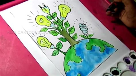 draw save energy save power poster drawing