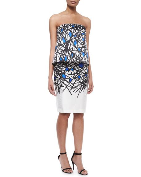 milly abstract print pencil skirt