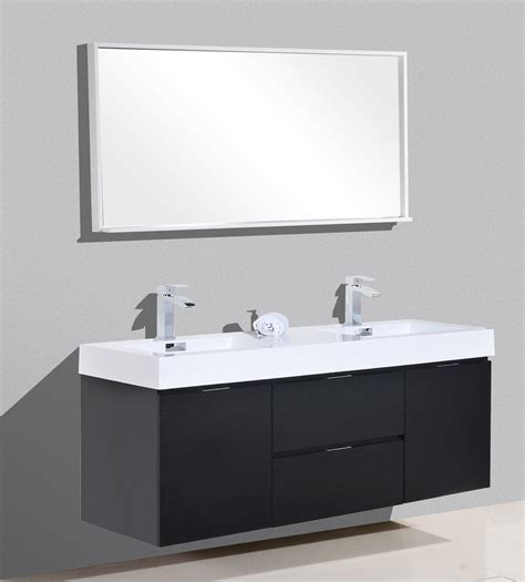 in stock bathroom vanities bliss 60 quot kubebath black wall mount modern bathroom