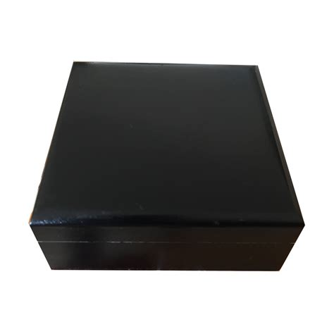 Black Wooden small mens black wooden trinket box plain painted to
