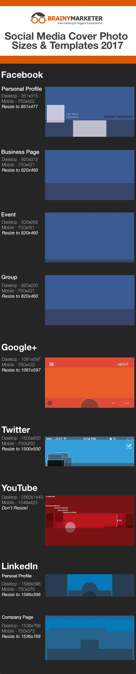 Updated Social Media Cover Photo Sizes And Templates For 2017 Free Cover Photo Template 2017