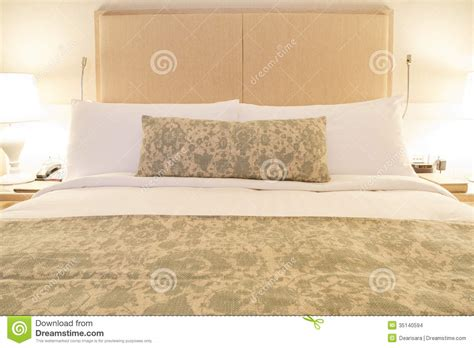 modern linen bedding wood headboard stock images image