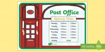 post office role play opening times display poster post
