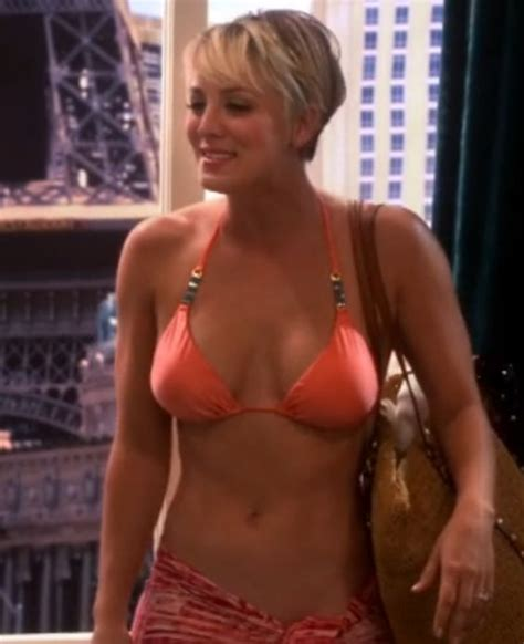 why did penny from the big bang theory cut her hair bikini clad kaley cuoco on latest big bang theory kaley