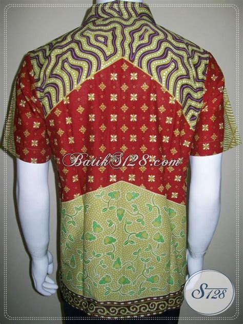 Kemeja Batik Blok Warna Biru Muda model baju batik remaja kemeja batik anak muda cowok warna cerah ld261t m toko batik