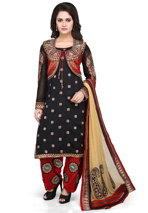 jacket design for punjabi suit embroidered art silk jacket style punjabi suit in black