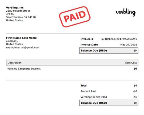 printable receipt with balance due how can i download an invoice or receipt of my verbling