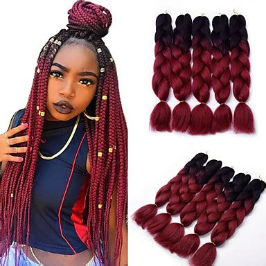 gold on top red on bottom box braids box braids ombre braiding hair synthetic hair 5pcs jumbo