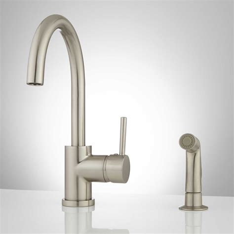 Kitchen Faucets Single by Lora Gooseneck Single Handle Kitchen Faucet With Side