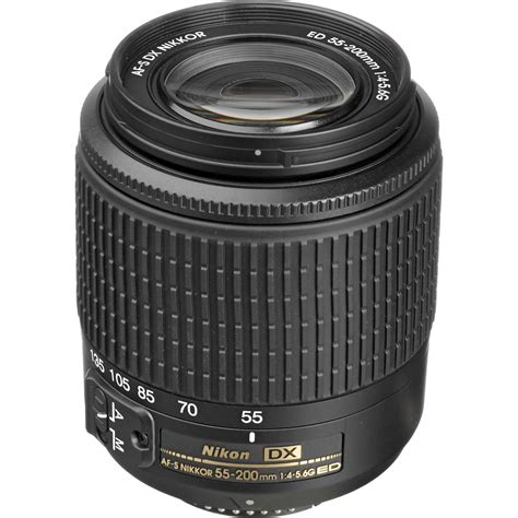 nikon af s dx zoom nikkor 55 200mm f 4 5 6g ed lens 2156 b h