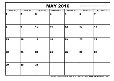 printable calendar template may 2016 may 2016 calendar printable