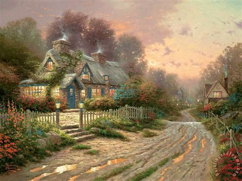 Thomas Kinkade Teacup Cottage Painting Teacup Cottage Cottage Paintings By Kinkade