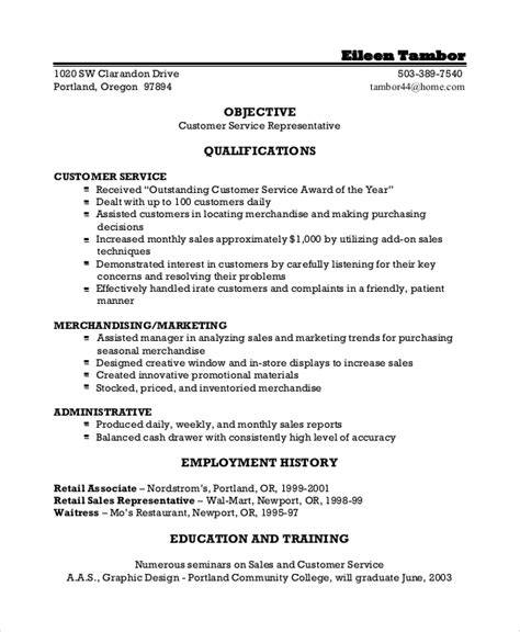 great resume exles for customer service sle resume objective 8 exles in pdf word