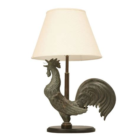Vintage French Home Decor Exquisite Antique French Copper Rooster Weathervane Lamp