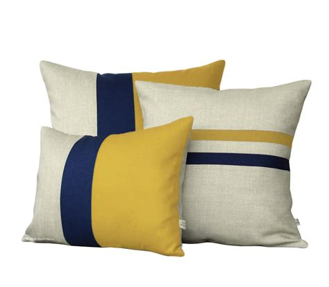 mustard yellow pillow cover set color block and striped