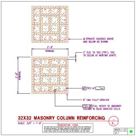 masonry templates ma05 1 square masonry column details axiomcpl central