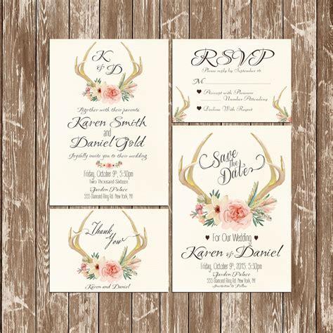 Hochzeitseinladung Hirschgeweih by Invitation Kit Deer Antler Wedding Invitation Rustic