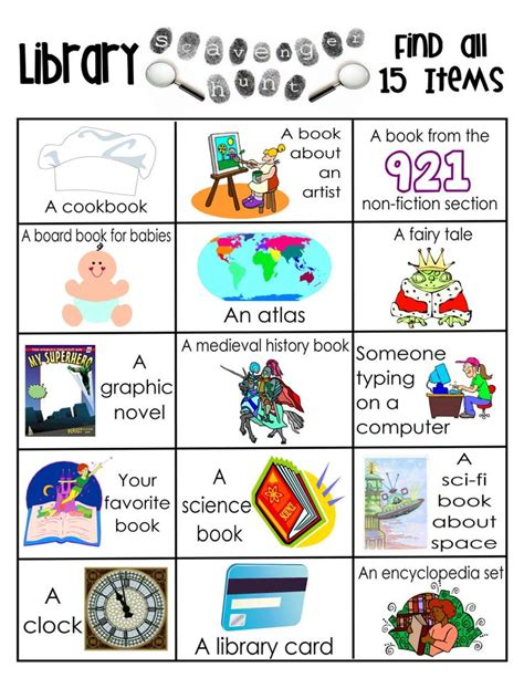 story themes elementary library activities library scavenger hunts free