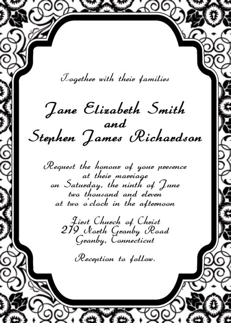 black and white wedding invitation templates siji ipunya