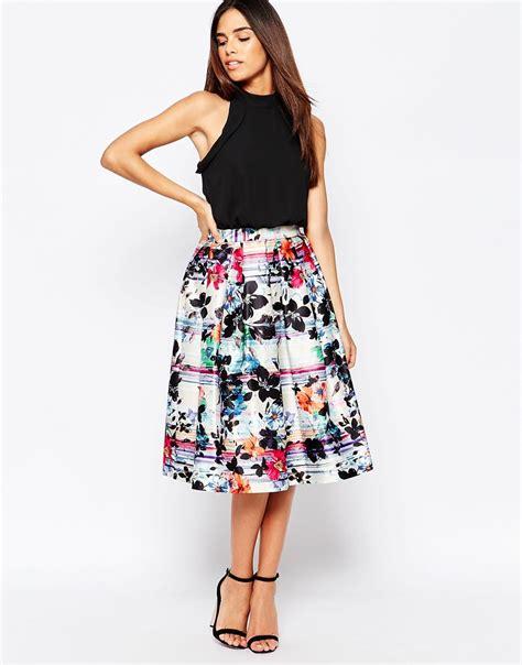 Wst 18465 White Flower Denim Skirt warehouse stripe floral midi dress at asos
