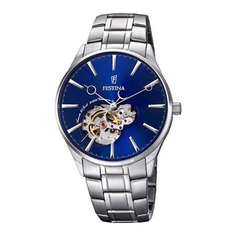 Uhr Mit Sichtbarem Uhrwerk by Festina Automatik Herrenuhr F6847 3 In Silber Blau Mit