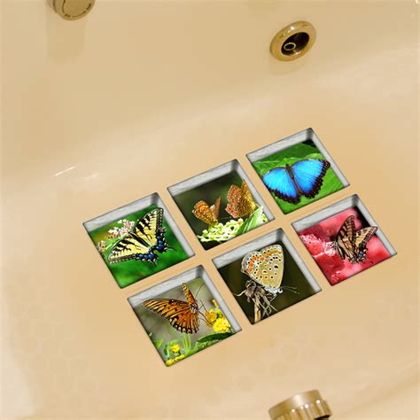 bathroom accessories pag 6pcs 13x13cm butterfly pattern
