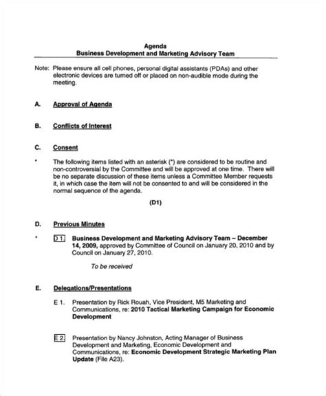 Business Development Meeting Agenda Template agenda sle 34 exles in word pdf