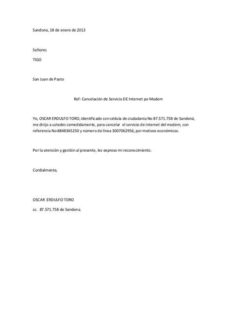 carta de cancelar un servicio cancelacion modem tigo