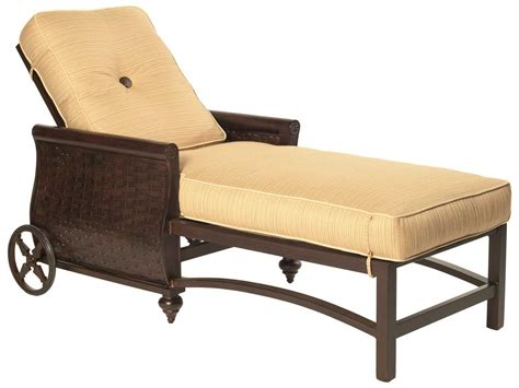 metal chaise lounge with wheels castelle french quarter cushion aluminum adjustable chaise