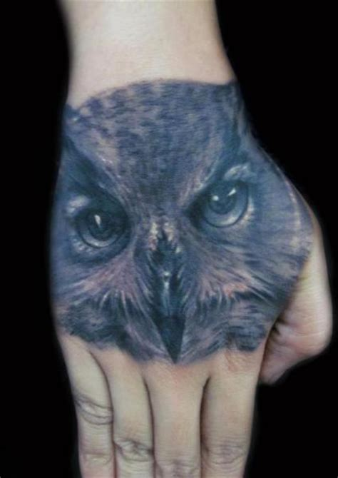 owl tattoo realism realistic hand owl tattoo by carl grace