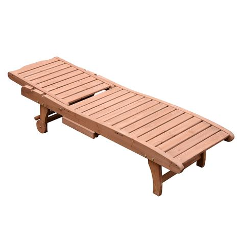 wood chaise outsunny wooden chaise lounge outdoor patio furniture