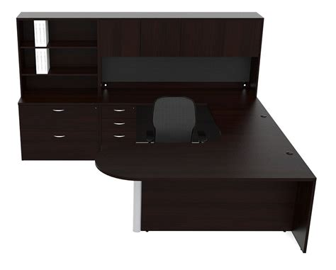 U Shaped Office Desk With Hutch New Bullet U Shape Executive Office Desk With Hutch File Cabinet Storage Ebay