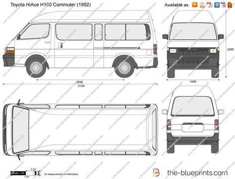 Toyota Hiace Measurements The Blueprints Vector Drawing Toyota Hiace H100