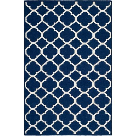 Safavieh Dhurries Navy Ivory 6 Ft X 9 Ft Area Rug Navy Rug