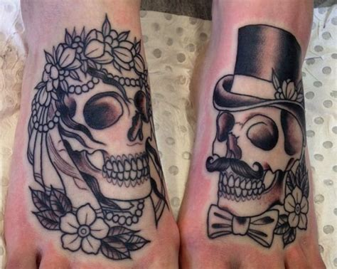 skull tattoo for couples skull couple tattoo ebony mellowship tattoos