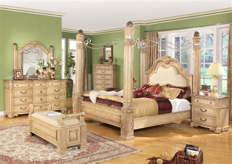 marble bedroom set king traditional poster canopy bed w leather 5 piece