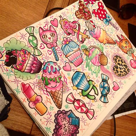 girly tattoo flash a3 prints available tattoos for